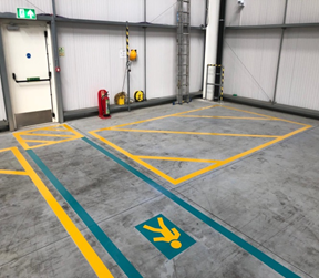 Warehouse line marking for pedestrian route