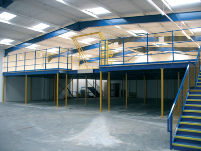Mezzanine flooring in commercial warehouse